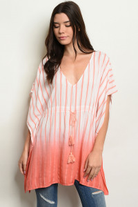 S9-3-5-T24469 CORAL STRIPES TOP 2-2-2