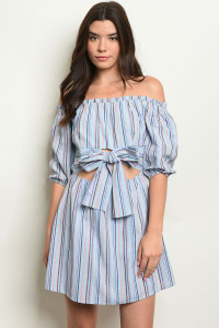 S11-4-3-D10404 BLUE MULTI STRIPES DRESS 3-2-1