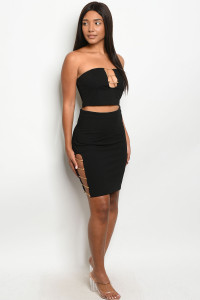 S19-9-2-SET4575 BLACK TOP & SKIRT SET 3-2-1