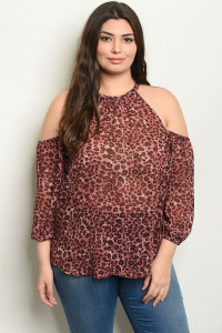 SA3-000-1-T10171X MAUVE ANIMAL LEOPARD PRINT PLUS SIZE TOP 2-2-2
