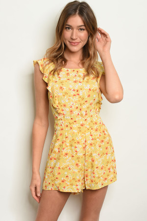 S8-2-1-R8284 YELOW FLORAL ROMPER 3-2-1