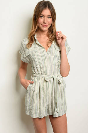 S8-1-3-R3065 NATURAL GREEN STRIPES ROMPER 3-2-1