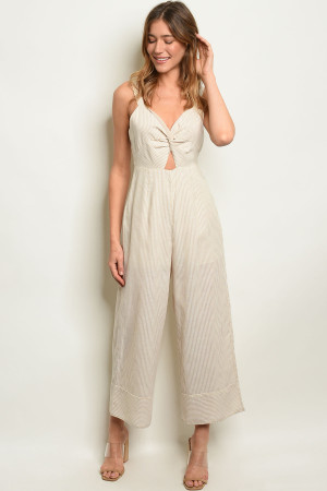 S8-1-4-J3085 BEIGE STRIPES JUMPSUIT 3-2-1