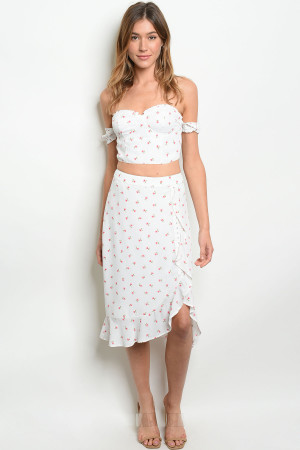 S23-10-5-S8138 OFF WHITE FLORAL SKIRT 3-2-1  ***TOP NOT INCLUDED***