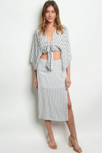 S8-1-5-SET1086 GRAY STRIPES TOP & SKIRT SET 3-2-1