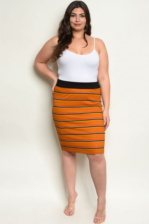 C19-B-1-S8105X MUSTARD STRIPES PLUS SIZE SKIRT 2-2-2
