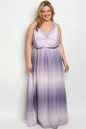 S22-6-3-D9180X LILAC TIE DYE PLUS SIZE DRESS 2-2-2