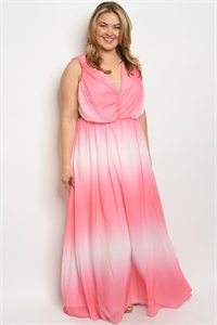 S11-18-1-D9180X PINK TIE DYE PLUS SIZE DRESS 2-2-2