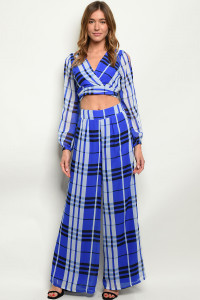 S7-1-1-SET1039 ROYAL CHECKERED TOP & PANTS SET 2-2-2