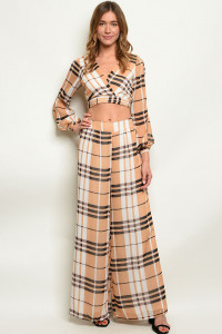 S7-1-1-SET1039 TAUPE CHECKERED TOP & PANTS SET 2-2-2