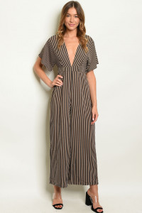 S18-7-4-J70376 BLACK TAN STRIPES JUMPSUIT 3-2-1