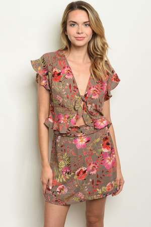 S10-18-4-SET55799 MOCHA FLORAL TOP & SKIRT SET 1-2-2-1