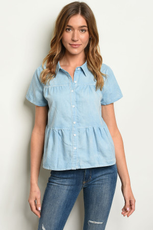 S24-1-5-T14064 LIGHT BLUE DENIM TOP 2-2-2