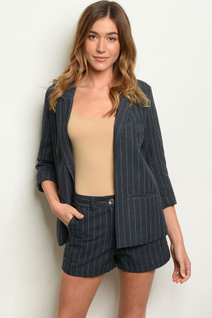 S12-4-1-SET90807 NAVY STRIPES BLAZER & SHORT SET 2-2-2