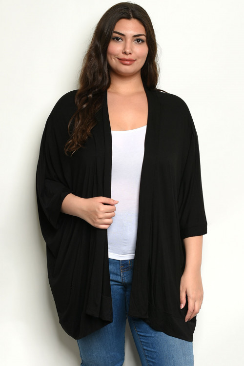 C21-A-3-C5782X BLACK PLUS SIZE CARDIGAN 3-3