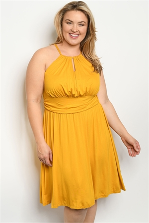 C7-A-1-D11955X MUSTARD PLUS SIZE DRESS 1-2-2-1
