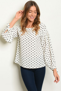 S13-7-3-T6105 OFF WHITE BLACK POLKA DOT TOP 2-2-2