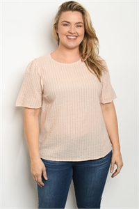 S23-11-4-T7356X PINK STRIPES PLUS SIZE TOP 1-2-2-1
