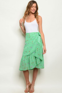 S7-9-4-S7169 GREEN FLORAL SKIRT 2-2-2