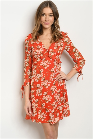 S15-7-4-D6025 RED WITH FLOWER PRINT DRESS 2-2-2