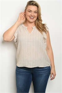 S21-7-2-T7218X NATURAL PINK STRIPES PLUS SIZE TOP 1-3-2-1