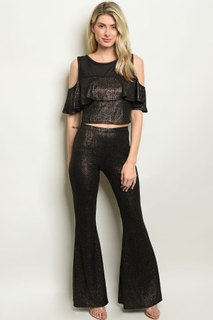 C18-A-6-SET9483 BLACK GOLD TOP & PANTS SET 2-2-2
