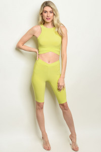 C7-B-3-SET3571 LIME TOP & CAPRI PANTS SET 2-2-2