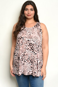 C46-A-3-T39377X PINK ANIMAL LEOPARD PRINT PLUS SIZE TOP 2-2-2