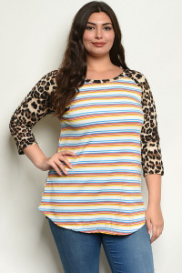 C35-A-4-T83244X YELLOW STRIPES ANIMAL LEOPARD PRINT PLUS SIZE TOP 2-2-2