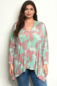 C33-A-2-T3898X SAGE WITH PAISLEY PRINT PLUS SIZE TOP 2-2-2