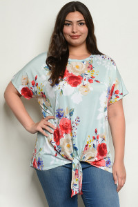 C31-A-3-T39025X AQUA FLORAL PLUS SIZE TOP 2-2-2