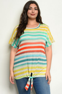 C29-A-4-T39025X MINT MULTI STRIPES PLUS SIZE TOP 2-2-2