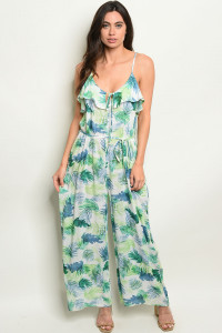 S14-1-5-J2100 IVORY GREEN JUMPSUIT 3-2-1
