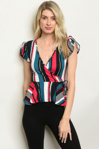 C60-B-4-T18476 TEAL MULTI STRIPES TOP 2-2-2