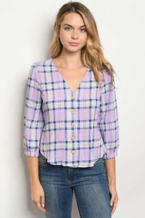 S19-6-3-T4217 LILAC CHECKERED TOP 2-2-2