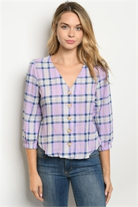 S19-8-2-T4217 LILAC CHECKERED TOP 2-1-1