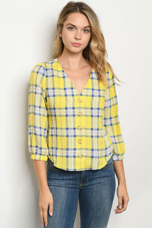 S19-6-4-T4217 YELLOW CHECKERED TOP 2-2-2