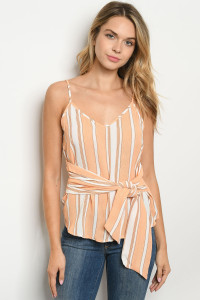 S21-4-5-T4900 PEACH STRIPES TOP 2-2-2