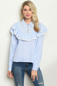 S22-4-4-T23246 WHITE BLUE STRIPES TOP 2-2-2