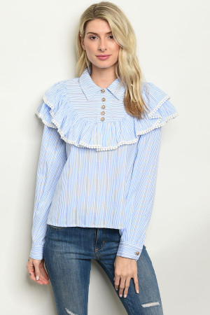 850342a447 Quick View this Product S22-4-4-T23246 WHITE BLUE STRIPES TOP 2-2-2
