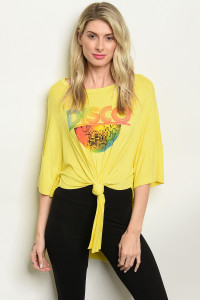 "C28-A-4-T2063 YELLOW ""DISCO"" PRINT TOP 2-2-2"