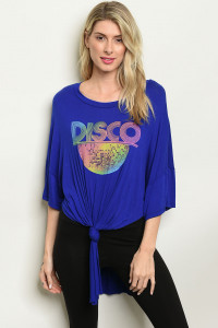 "C31-A-1-T2063 ROYAL ""DISCO"" PRINT TOP 2-2-3"