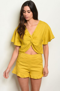 S11-7-3-SET24449 MUSTARD TOP & SHORT SET 2-2-2