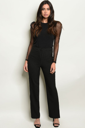 S8-12-5-P2838 BLACK STRIPES PANTS 3-2-1