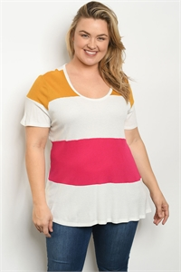 C75-B-4-T2197X IVORY MULTI PLUS SIZE TOP 2-2-2