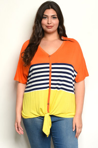 C99-A-2-T2190X ORANGE YELLOW PLU SIZE TOP 2-2-2
