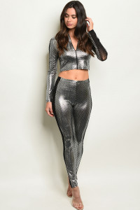 S9-15-4-SET11437 SILVER BLACK TOP & PANTS SET 2-2-2  ***WARNING: California Proposition 65***