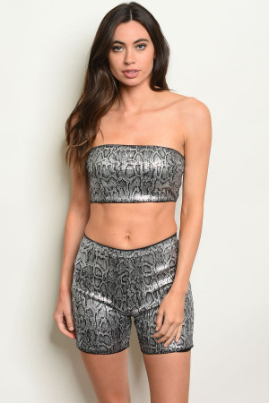 S19-9-5-SET8154 SILVER SNAKE PRINT TOP & SHORT SET 2-2-2