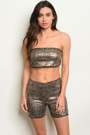 S19-9-5-SET8154 GOLD SNAKE PRINT TOP & SHORT SET 2-2-2