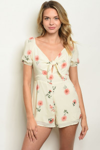 S11-15-4-R40626 CREAM WITH FLOWER PRINT ROMPER 2-2-2